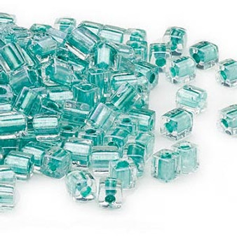 SB4-2605 - Miyuki - 4mm - Clear Colour Lined Metallic Teal - 25gms - 4mm Square Glass Bead