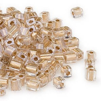 SB4-234 - Miyuki - 4mm - Clear Colour Lined Gold - 25gms - 4mm Square Glass Bead