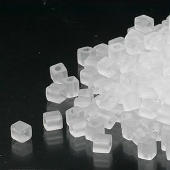 SB4-131F - Miyuki - 4mm - Transparent Frosted Clear - 25gms - 4mm Square Glass Bead