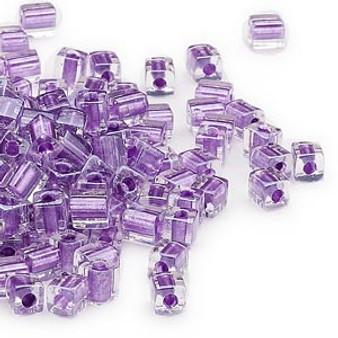 SB4-2607 - Miyuki - 4mm - Clear Colour Lined Metallic Violet - 25gms - 4mm Square Glass Bead