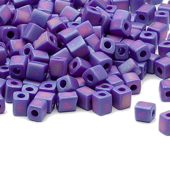 SB4-414FR - Miyuki - 4mm - Opaque Frosted Rainbow Cobalt - 25gms - 4mm Square Glass Bead