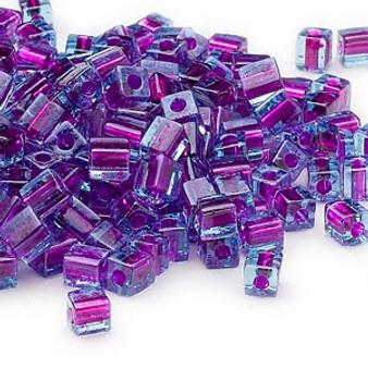 SB4-2651 - Miyuki - 4mm - Blue Colour Lined Purple - 25gms - 4mm Square Glass Bead