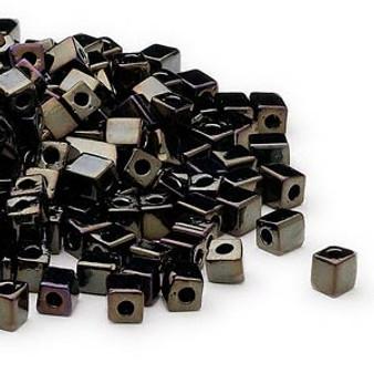 SB4-458 - Miyuki - 4mm - Opaque Metallic Iris Black - 25gms - 4mm Square Glass Bead