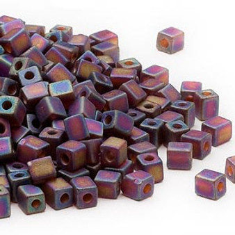 SB4-134FR - Miyuki - 4mm - Transparent Frosted Rainbow Dark Amber Yellow - 25gms - 4mm Square Glass Bead