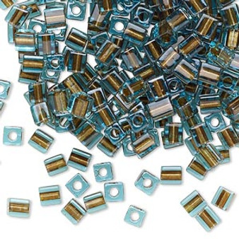 SB4-2642 - Miyuki - 4mm - Blue Colour Lined Brown - 25gms - 4mm Square Glass Bead