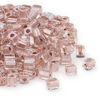 SB4-2602 - Miyuki - 4mm - Clear Colour Lined Metallic Copper - 25gms - 4mm Square Glass Bead