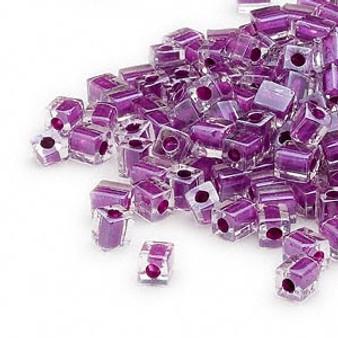 SB4-243 - Miyuki - 4mm - Clear Colour Lined Purple - 25gms - 4mm Square Glass Bead