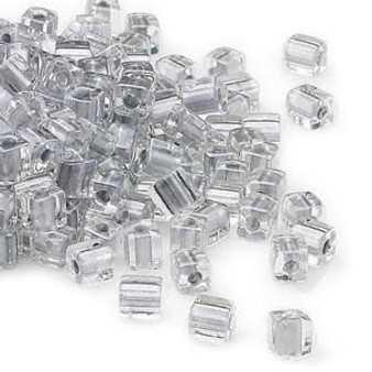 SB4-242 - Miyuki - 4mm - Clear Colour Lined Silver - 25gms - 4mm Square Glass Bead