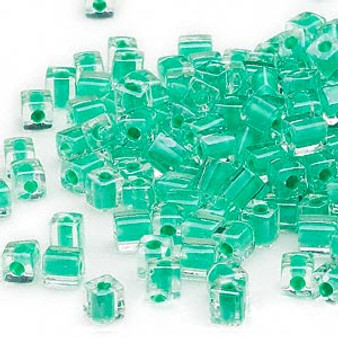 SB4-219 - Miyuki - 4mm - Clear Colour Lined Green - 25gms - 4mm Square Glass Bead