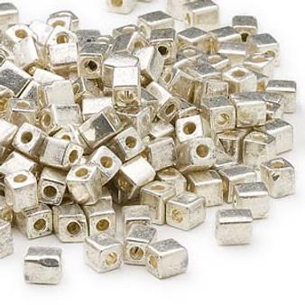 SB4-1051 - Miyuki - 4mm - Opaque Metallic Silver - 25gms - 4mm Square Glass Bead