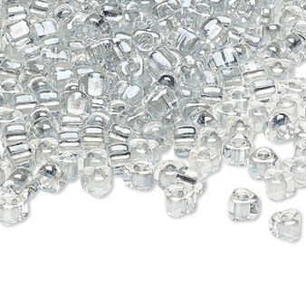 TR5-1105 - Miyuki - #5 - Transparent Clear Colour Lined Platinum - 25gms - Triangle Glass Bead