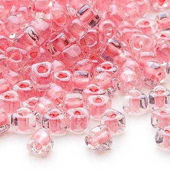 TR5-1109 - Miyuki - #5 - Transparent Clear Colour Lined Pink - 25gms - Triangle Glass Bead