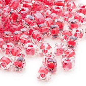 TR5-1111 - Miyuki - #5 - Transparent Clear Colour Lined Red - 25gms - Triangle Glass Bead