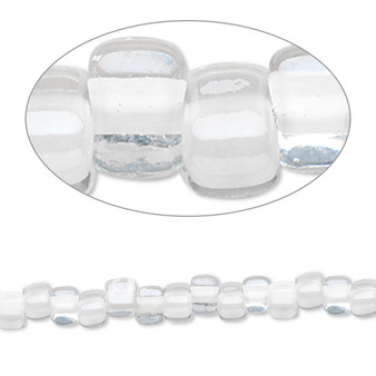 TR5-1104 - Miyuki - #5 - Transparent Clear Colour Lined White - 25gms - Triangle Glass Bead