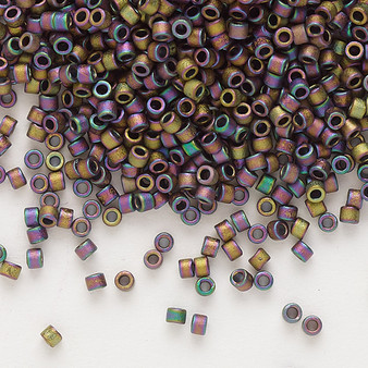 DB1056 - 11/0 - Miyuki Delica - Opaque Matte Metallic Gold Luster Rainbow Soft Gold - 7.5gms - Cylinder Seed Beads