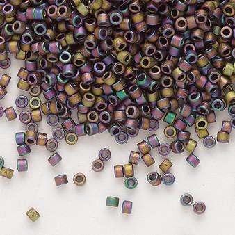 DB1056 - 11/0 - Miyuki Delica - Opaque Matte Metallic Gold Luster Rainbow Soft Gold - 50gms - Cylinder Seed Beads