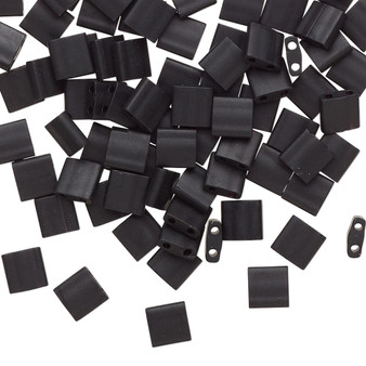 TL401F - Miyuki Tila - Opaque Matte Black - 10gms - Two Hole Square glass beads