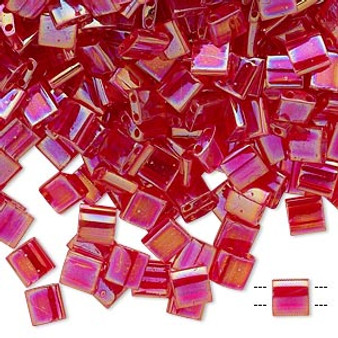 TL254 - Miyuki Tila - Transparent Strawberry - 10gms - Two Hole Square glass beads