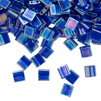 TL177 - Miyuki Tila - Transparent Rainbow Dark Cobalt - 10gms - Two Hole Square glass beads