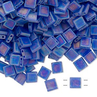 TL151FR - Miyuki Tila - Transparent Matte Rainbow Blueberry - 40gms - Two Hole Square glass beads