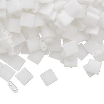 TL402 - Miyuki Tila - Opaque White - 40gms - Two Hole Square glass beads