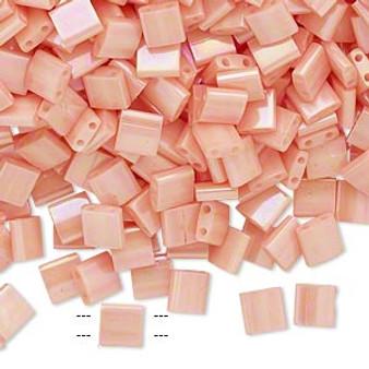 TL596 - Miyuki Tila - Opaque Luster Rainbow Light Peach - 40gms - Two Hole Square glass beads
