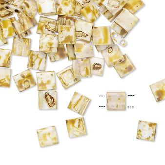TL4512 - Miyuki Tila - Opaque Picasso Antique White - 40gms - Two Hole Square glass beads