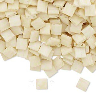 TL2021 - Miyuki Tila - Opaque Satin Matte Ivory - 40gms - Two Hole Square glass beads