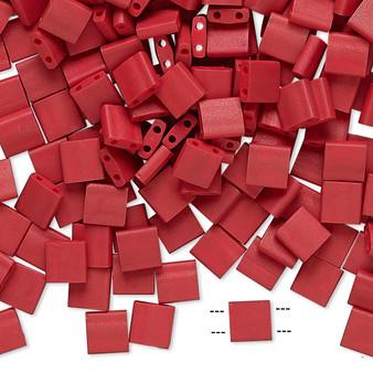 TL2040 - Miyuki Tila - Opaque Satin Matte Red - 40gms - Two Hole Square glass beads