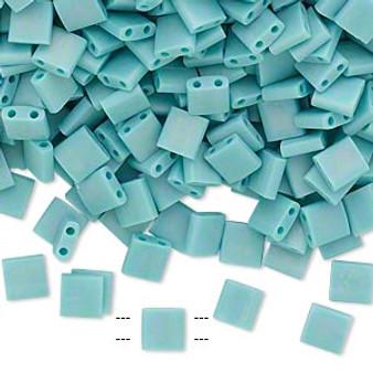 TL412FR - Miyuki Tila - Opaque Matte Rainbow Mint Green - 40gms - Two Hole Square glass beads