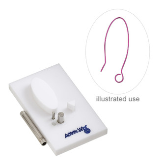 Jig, Artistic Wire® Findings Forms™, Beadalon®, ear wire, acrylic / steel / stainless steel, white and blue, 2 x 1-1/4 inch rectangle.