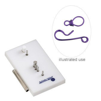 Jig, Artistic Wire® Findings Forms™, Beadalon®, hook-and-eye clasp, acrylic / steel / stainless steel, white and blue, 2 x 1-1/4 inch rectangle.