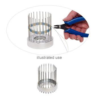 angle bracelet weaver, Beadalon®, plastic / steel / aluminum, clear, 3-1/4 x 3/4 inch base / 3-3/4 inch warp pin / 8.5x3mm fastener. Sold per set.