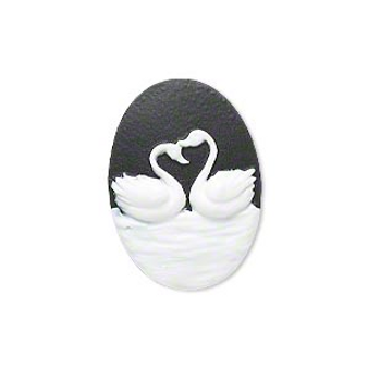 Cabochon, black & white, 25x18mm oval cameo with swans.