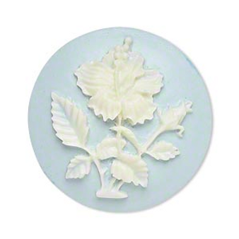Cabochon, light blue & white, 33mm round cameo with hibiscus flower