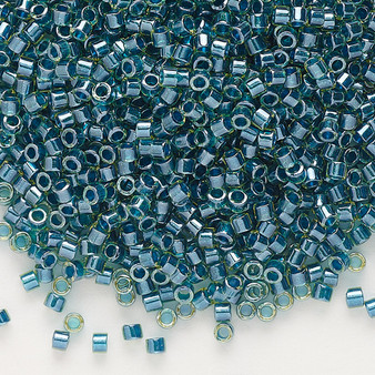 DB0919 - 11/0 - Miyuki Delica - Translucent Dark Teal Lined Luster Chartreuse - 250gms - Cylinder Seed Beads