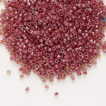 DB0283 - 11/0 - Miyuki Delica - Translucent Cranberry Lined Luster Peridot - 250gms - Cylinder Seed Beads
