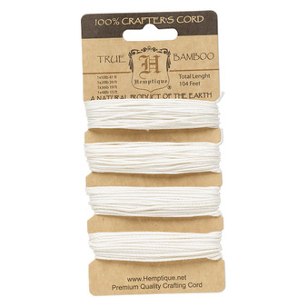 Cord, Hemptique®, polished bamboo, white, 0.5mm / 1mm / 1.5mm / 1.8mm diameter, 10- / 20- / 36- / 48-pound test. Sold per card.