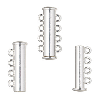 """Clasp, 4-strand magnetic slide lock, silver-finished """"pewter"""" (zinc-based alloy), 24x6.5mm tube. Sold per pkg of 2."""