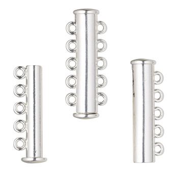 """Clasp, 5-strand magnetic slide lock, silver-finished """"pewter"""" (zinc-based alloy), 28x6.5mm tube. Sold per pkg of 2."""