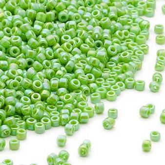 Seed bead, Dyna-Mites™, glass, opaque rainbow jade green, #11 round. Sold per 40-gram pkg.