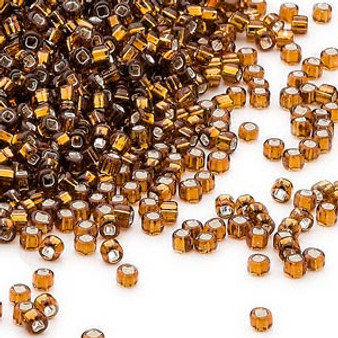Seed bead, Dyna-Mites™, glass, silver-lined translucent root beer, #11 round with square hole. Sold per 40-gram pkg.
