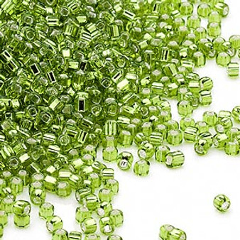 Seed bead, Dyna-Mites™, glass, silver-lined translucent light green, #11 round with square hole. Sold per 40-gram pkg.