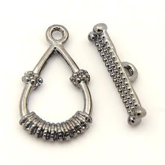 Tibetan Style Toggle Clasp Set - Gunmetal -25*14mm , Tbar 21mm long -  10 PACK