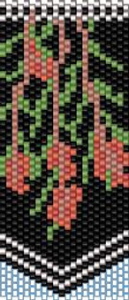 Peyote Stitch Bottle Brush Flower Panel Pattern (Even Count) - Download