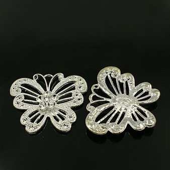 2 x Butterfly Pendant with Cabochon Settings - 41*48mm, 3mm thick