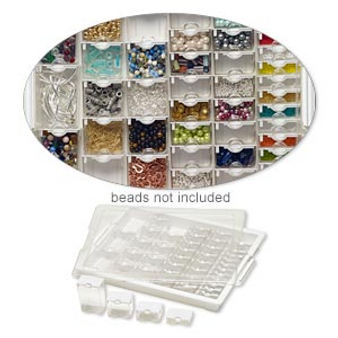 Organizer, Assorted Bead Storage Tray™, Bead Storage Solutions™, plastic, clear and opaque off-white, 13-3/4 x 10-1/2 x 2 inches. Sold per 45-piece set.
