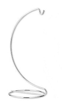 Ornament stand, chrome-finished steel, 7-1/2 x 4 x 3-1/2 inches with hook. Sold per pkg of 6.