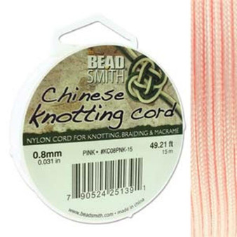 Chinese Knotting Cord 0.8mm thick, 15m reel Pink