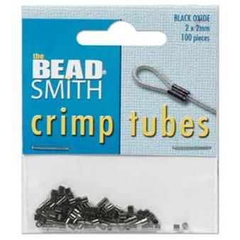 Tube Crimp Pack - 2mmx2mm - Gunmetal - 100 Pieces